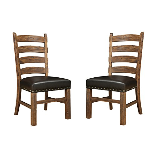 End Seat (Emerald Home Chambers Creek Brown Dining Chair with Upholstered Faux Leather Seat, Ladder Back, And Nailhead Trim, Set of Two)