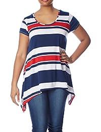 Womens Plus Size Sharkbite Top: Long Stripe Tunic...