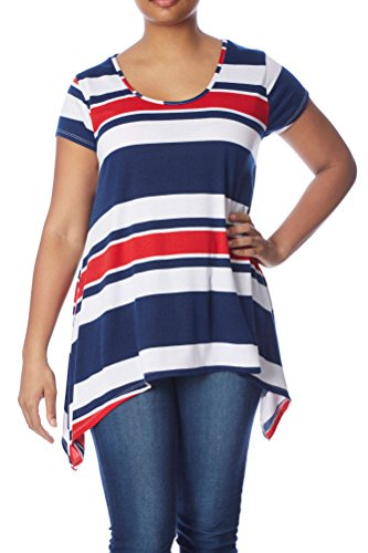 Rouge-Love Collection, Womens Plus Size Sharkbite Tunic: Cap Sleeves High-Low, Wht/Br Nvy/Red, 3X (Plus Size Women Clothing)