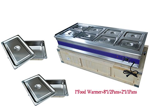 8-Pan Bain-Marie Buffet Food Warmer Steam Table 110V 1800W 57 x 26 x 11INCH by Kitchen Supply