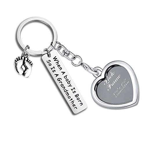 LQRI Baby Reveal Gift for Mom Grandma to Be Picture Frame Keychain When a Baby is Born So is A Grandmother Keychain Baby Announcement Gift for New Grandma (Silver)