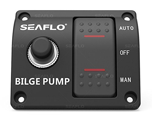 SEAFLO 3-Way Bilge Pump Panel Rocker Switch Automatic/Off/Manual with built in fuse 12v 24v 32v (Bilge Off Switch Pump)