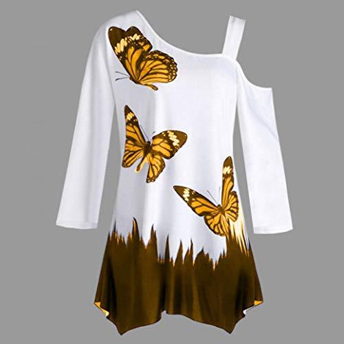 Une Sexy Solike Tunique Manches Blouses T paule Imprim Femme Shirt Orange Papillon Longues Casual Loose Tops 4ppzg