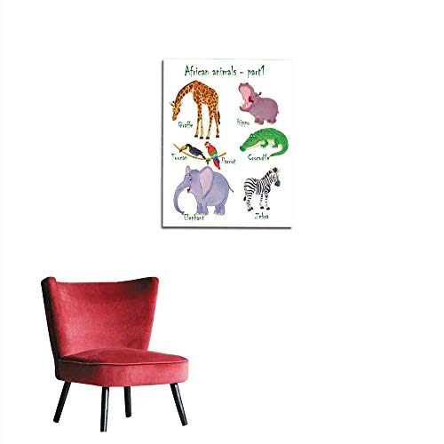 longbuyer Poster Wall Decor Set of Cute African Animals Coloring Page Funny Cartoon Characters Illustration for Children Mural 24
