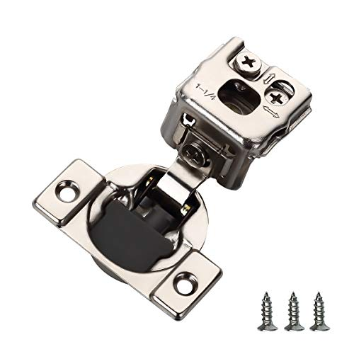 Furniware 20 Pieces Self Closing Cabinet Hinges, 1-1/4″ Overlay Cabinet Hardware Hinges Nickel Plated- 105 Degree
