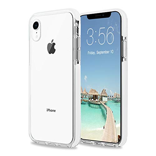(iPhone XR Case, Clear Transparent Back Silicone Soft TPU Rubber Bumper Shockproof Anti-Scratch Protection Skin Cover for Apple iPhone XR 6.1inch (2018) (White))