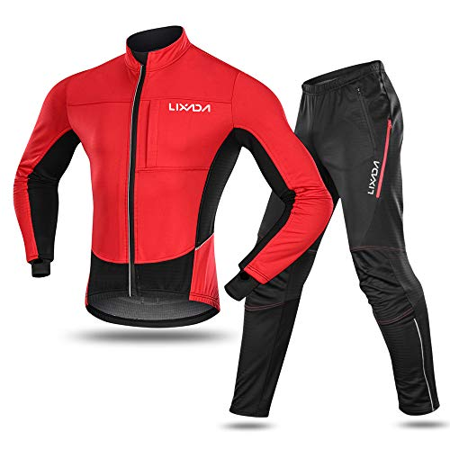Lixada Men's Cycling Jersey Suit Waterproof Thermal Fleece Long Sleeve Mountain Bike Riding Softshell Jacket with Padded Pants Trousers