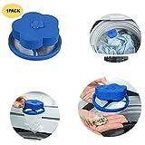 Saying Reusable Flower-Type Floating Washing Machine Lint Filter Bags Net - Pet Fur Catcher, Hair Filter Net Pouch, Washer Hair Catcher for Household Tool - Blue (1-Pack)