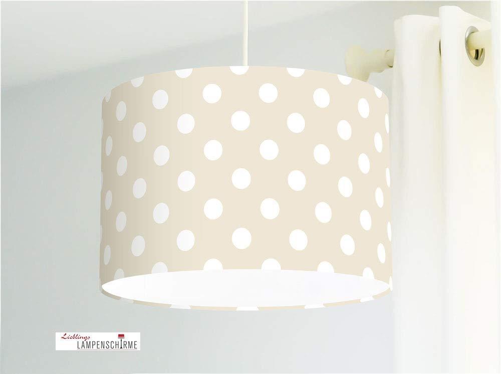 Deckenlampe Kinderzimmer und Babys mit großen weißen Punkten in Beige
