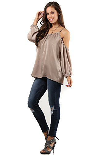 (MeshMe Womens Allie - Taupe Brown Beige Champagne Cute Valentine's Day Satin Silk Sheen Open Cold Shoulder Long Mock Bishop Sleeve Cinched Cuff Relaxed Loose Fit Cami Camisole Blouse Shirt Top)