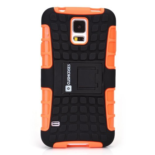 Cush Cases Heavy Duty Rugged Cover Case for Samsung Galaxy S5 SmartPhone - Orange (This case will NOT fit S5 Active)