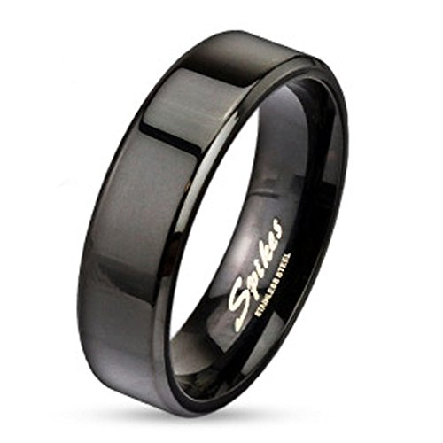 Jinique STR-0037 Black IP Over Stainless Steel Beveled Edge Flat Band Ring; Comes With Box