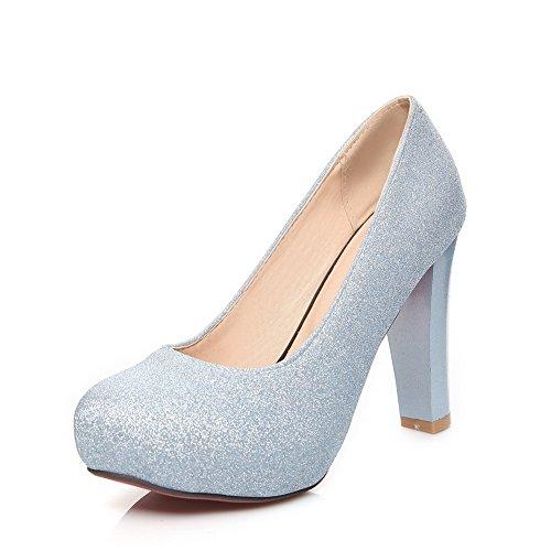 Plate-forme Balamasa Filles Bas-sequin Paillettes Imitation Cuir Pompes-chaussures Bleu