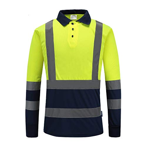 A-SAFETY Max-Dry Moisture Wicking Mesh Long Sleeve Safety Polo Shirt Lime-Yellow, 2X-Large