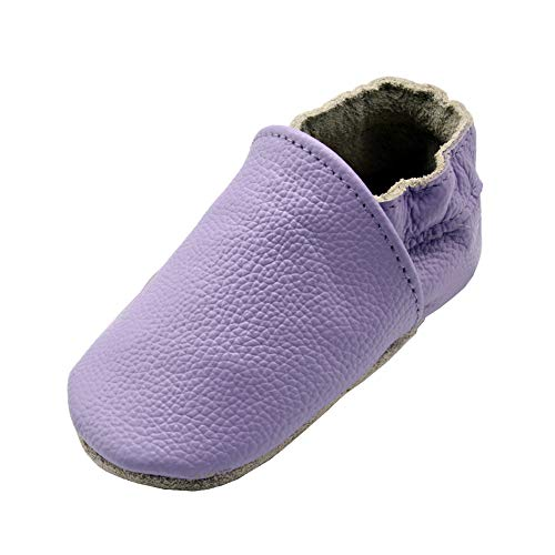 iEvolve Baby Leather Shoes Soft First Walker Shoes Crib Shoes Moccasins for Toddlers(Pure Purple, 0-6 Months)