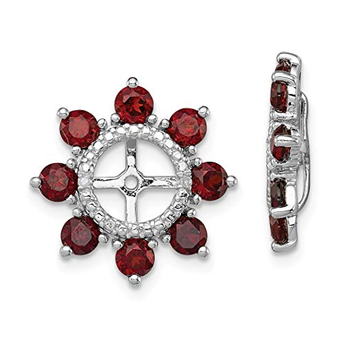ICE CARATS 925 Sterling Silver Diamond Red Garnet Earrings Jacket Birthstone January Fine Jewelry Ideal Gifts For Women Gift Set From Heart by ICE CARATS