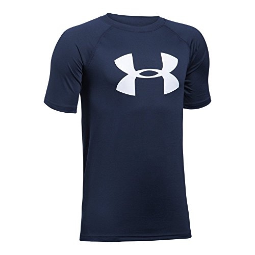 Under Armour Boys' Tech Big Logo Short Sleeve T-Shirt, Midnight Navy/White, Youth (Large Logo T-shirt)
