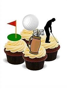 Kuchendekoration, Golf-Mix (Golfer, Golfball, Fahnenmast), 12 Stück, essbar,...