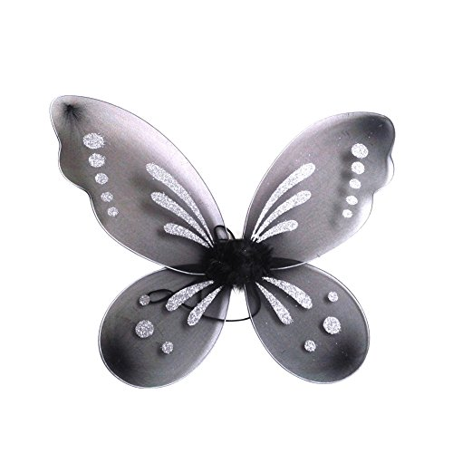 BOBORA Fairy Princess Butterfly Costume Dress-up Wings Halloween (Black Tinkerbell Fairy Costume)