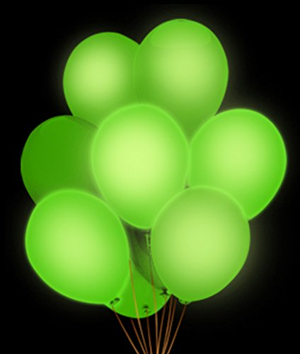 Fun Central AH944, 5 Pcs, 14 Inches Green LED Blinky Balloons, Glow in The Dark Balloons, LED Light Up Balloons, LED Party Balloons, Glow Balloons -