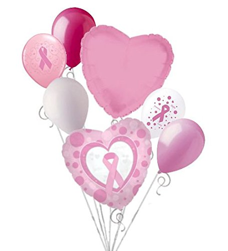 7 pc Breast Cancer Awareness Balloon Bouquet Event Decoration Pink Ribbon (Breast Cancer Awareness Balloons)