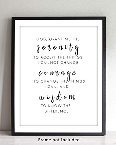 Serenity Prayer Wall Art Sign - 11x14 UNFRAMED Print - Makes a Great Religious Inspirational & Motivational Typography Decor Gift.