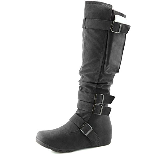 Calf Heel Slip DailyShoes Round Toe Hidden Gray Comfortable Flat Boots High Knee Wedge On Slouch Mid Women's Space 01qwE17