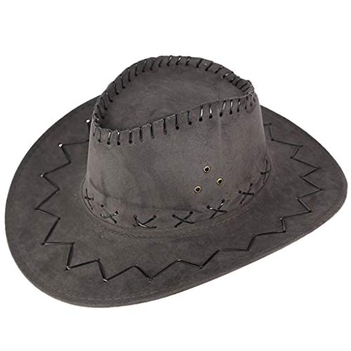 Faux Leather Cowboy Hat for Men/Women, Wide Brim Sun Protection Western Style Sun Hat for Cowgirl Cowboy