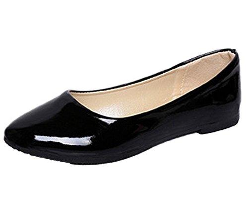 Minetom Damen Elegant Pu-Leder Flache Schuhe Sommer Frühling Herbst Beiläufige Tanzschuhe Schwarz