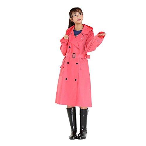 Deylaying Mujer Al aire libre Excursionismo Impermeable Portable Chubasquero Double Breasted Encapuchado Rompevientos Con Cinturón Chaqueta de lluvia Rose Rojo