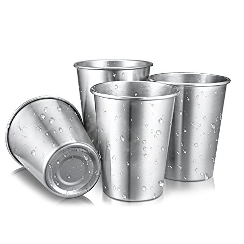 Stainless Steel Cups, Perfect for Babies and Outdoor & Indoor Activities 12oz Metal Drinking Glasses Unbreakable Beer Cup and Water Tumblers set of 4