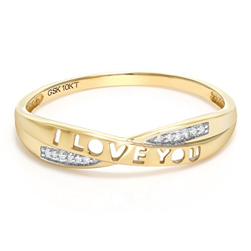 Gem Stone King 10K Solid Yellow Gold I Love You White Diamond Women Anniversary Band Ring (0.18 Cttw, Available 5,6,7,8,9) (I Carat Diamond Ring)