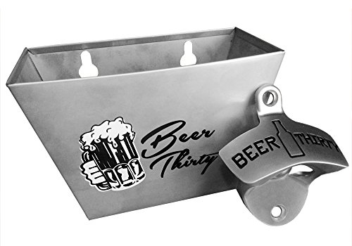 Barware Gear Bottle Opener & Catcher Bundle: Wall Mount Beer Thirty Bottle Opener with Matching Stainless Steel Cap Catcher. Free Mounting Screws. Both are modern and durable with the classic design.