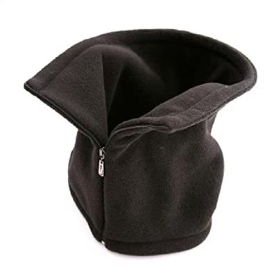 BLACK PEAKED BALACLAVA WITH ZIP NECK WARMER