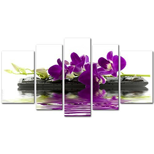(Canvas Print Wall Art Picture Orchids Phalaenopsis Flowers On Black StonesDrops In Water Butterfly Orchid 5 Pieces Modern Giclee Stretched And Framed Artwork The Flower Pictures Photo Prints On Canvas)
