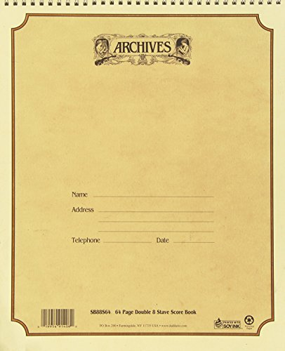 (Archives Spiral-Bound Manuscript Book, Double 8 Stave, 64 pages, 11 x 13 inches)