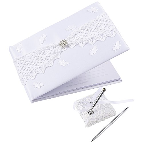 Juvale Wedding Guest Book, 40 Pages Guest Book with Pen and Holder, White Satin Lace with Rhinestones Hardcover, 9.5 x 6.5 x 1.3 Inches
