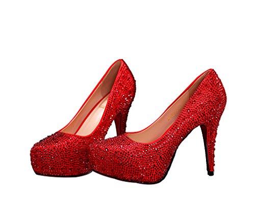 Chaussures De Mariage Bling Sparkle Cristal Princesse Chaussures Rouge Rouge 11cm Talon