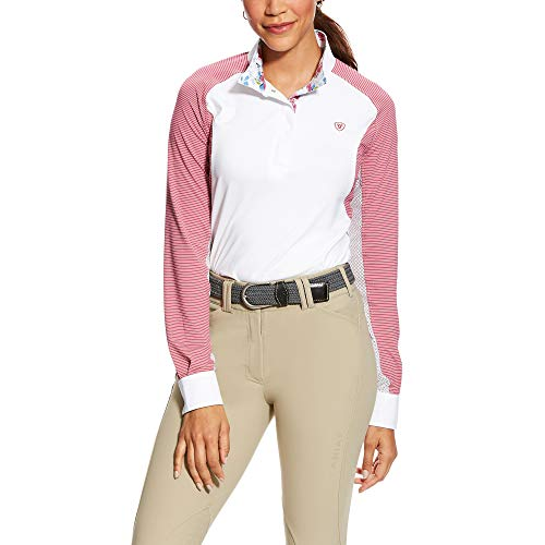 (ARIAT Women's Marquis Show Shirt White/Rose Violet Stripe Size Small Regular)