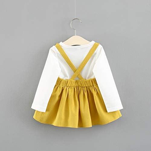 gonna e bretelle colore giallo Vestitino da neonata d/à l/'illusione che sia formato da due pezzi motivo stampa a forma di coniglietto