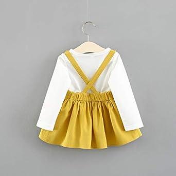 Neugeborenes Baby M/ädchen Kleider Fighting Rabbit Prints gef/älschte Zwei St/ücke gelb Hosentr/äger Rock Sets