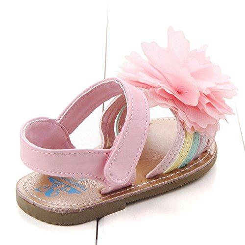 zapatos de bebe primeros pasos, Switchali Recién nacido bebe niña verano Suela blanda Antideslizante floral princesa Sandalias Zapatillas niñas vestir casual Calzado Rosado