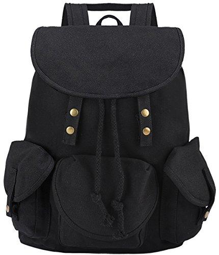 Coofit Damen und Mädchens Vintage Canvas Rucksack Schultasche Daypacks für Outdoor Sports