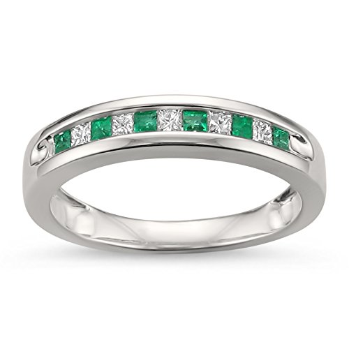- La4ve Diamonds 14k White Gold Princess-Cut Diamond & Natural Green Emerald Wedding Band Ring (1/4 cttw, H-I, I1-I2), Size 7.5