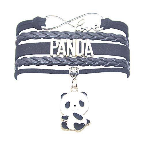 Panda Bracelet Jewelry Bear - HCChanshi Cute Infinity Love Panda Charm Bracelet Gifts for Girls, Women, Men, Boys (Black)