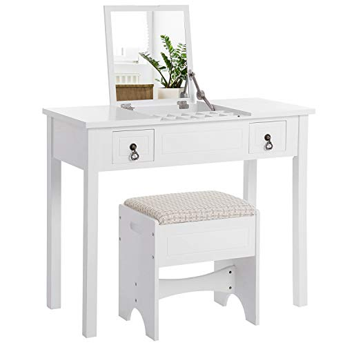 Dressing Set Table Oak - VASAGLE Vanity Set with Flip Top Mirror Makeup Dressing Table Writing Desk with 2 Drawers Cushioned Stool 3 Removable Organizers Easy Assembly, White URDT01WT