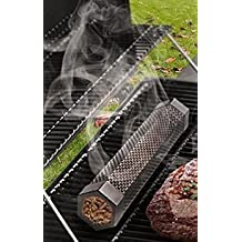 """12"""" Stainless Steel Smoker Tube/Smoker Box Use Wood Pellets or Wood Chips for Smoking in Any BBQ Grill (Charcoal, Propane, or Natural Gas), Hot or Cold Smoking FREE BONUS eBook on Smoking Tips"""
