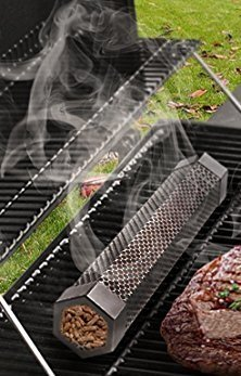 """- 12"""" Stainless Steel Smoker Tube/Smoker Box Use Wood Pellets or Wood Chips for Smoking in Any BBQ Grill (Charcoal, Propane, or Natural Gas), Hot or Cold Smoking FREE BONUS eBook on Smoking Tips"""