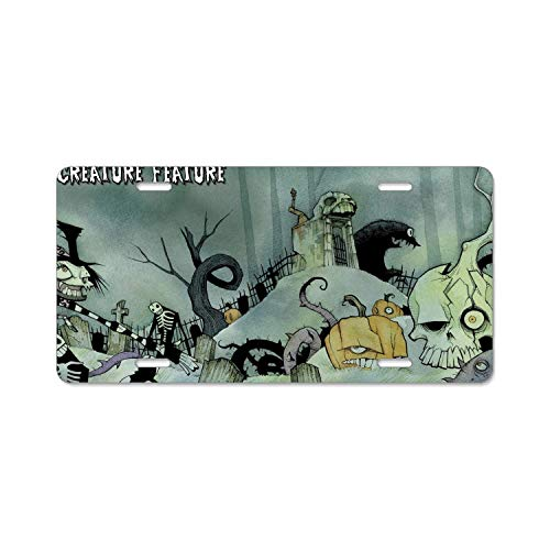 Teisyouhu Halloween Skeleton Funny Humor Auto Car Tag Frame License Cover Auto License Plate Frame Cover Car Accessory]()