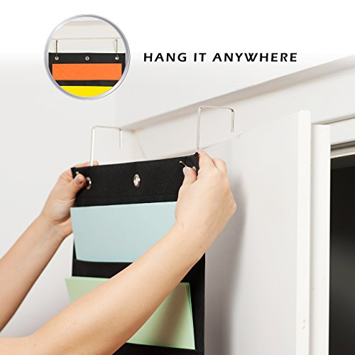 Hanging File Organizer By IQ Storage: 10 Pocket Wall Mounted Folder Holder, With 2 Door Hooks, For Organizing Papers, Documents Supplies In Classroom, Office And Nursery - Heavy Duty 600D Polyester Photo #6